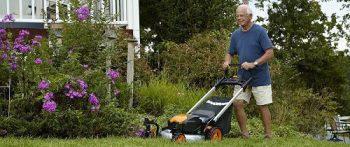 Man Mowing a Lawn