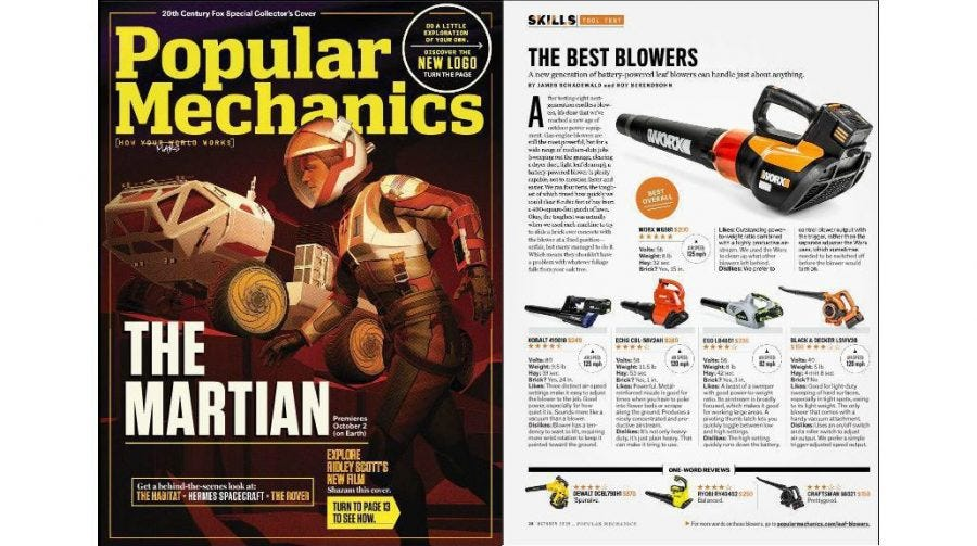 "Popular Mechanics Names WORX Blower ""Best Overall"" in ""Best Blowers"" Test 5"