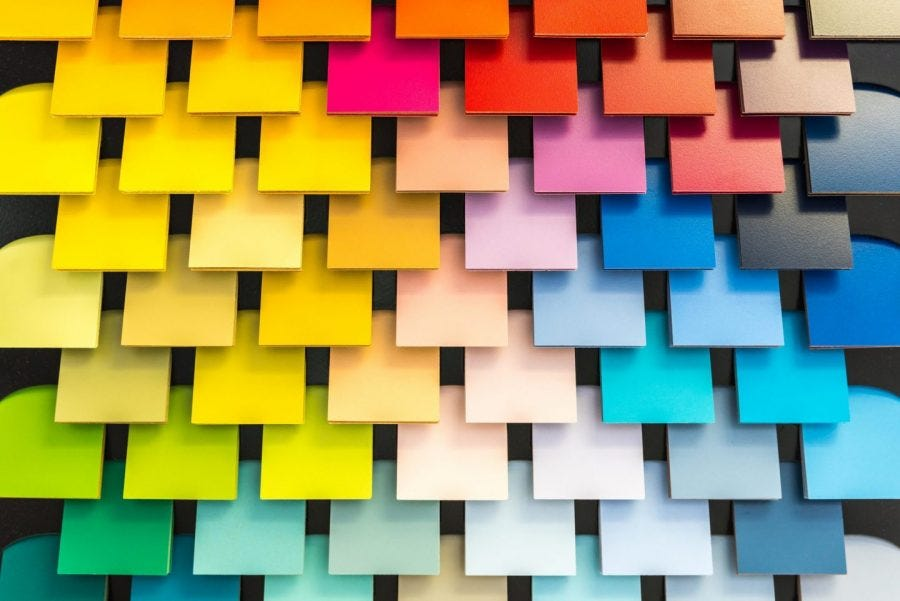 colorful shingle squares arranged next to each other