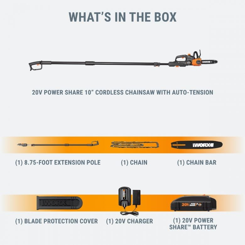 """20V Power Share 10"""" Cordless Pole/Chain Saw with Auto-Tension"""