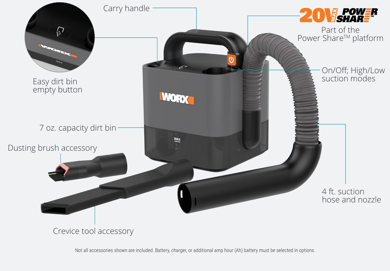 Worx WX030 18 V 20 V Max cubevac Sans fil Compact Aspirateur